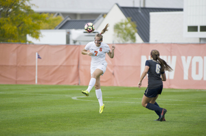 Taylor Bennett rises for a header on Sunday. She scored the decisive goal in Syracuse's 1-0 win over Pittsburgh.