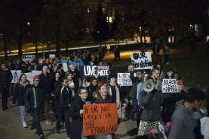 In a demonstration of student activism, Syracuse University students peacefully protested on Nov. 10 the election of President Donald Trump.