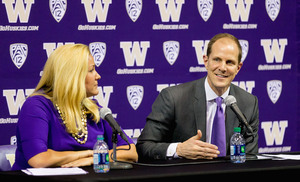 Mike Hopkins was all smiles at his introductory press conference at Washington on Wednesday.