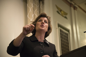 Syracuse Mayor Stephanie Miner defended her anti-merger stance at the debate held Wednesday night in Maxwell Auditorium.