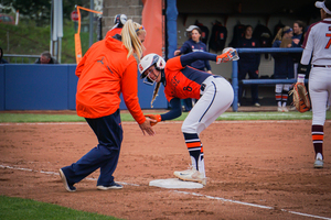 Sophomore second baseman Alicia Hansen leads Syracuse's expressive celebrations on the bases and in the field.