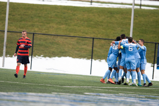 North Carolina celebrates the only goal of the day.